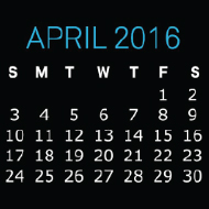 April 2016 Golden Valve Desktop Calendar