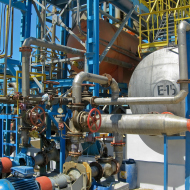 Exterior of plant with instrumentation, valves, industrial