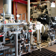 Interior of plant with instrumentation, valves, industrial