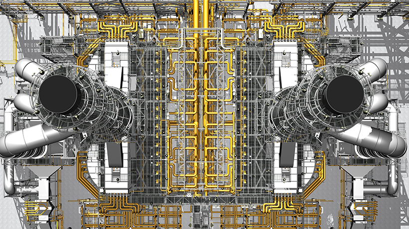 golden piping network, image created with PDS and SmartPlant Review